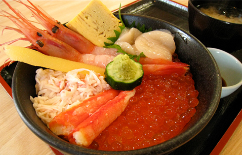 "Try a Seafood Rice Bowl at the ""Donburi Yokocho"" Restaurant Arcade"