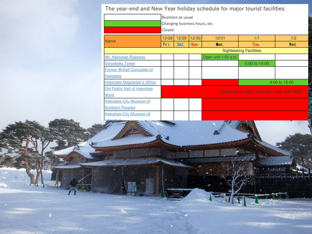 The year-end and New Year holiday schedule for major tourist facilities